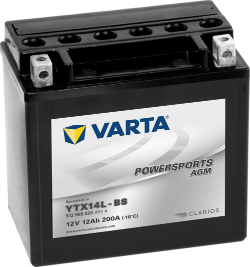 VARTA AGM MC Batteri 12V 14AH 210CCA (150x87x161mm) +høyre